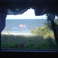 American Flag through Seaview Window